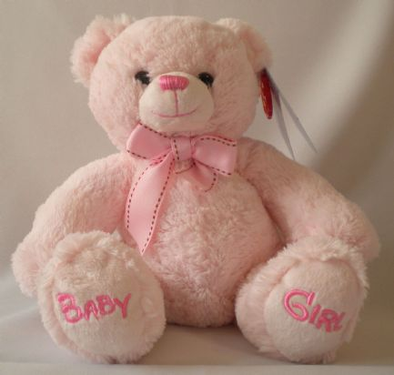Nursery Bobby Bear. Pink, 22 cm soft toy.